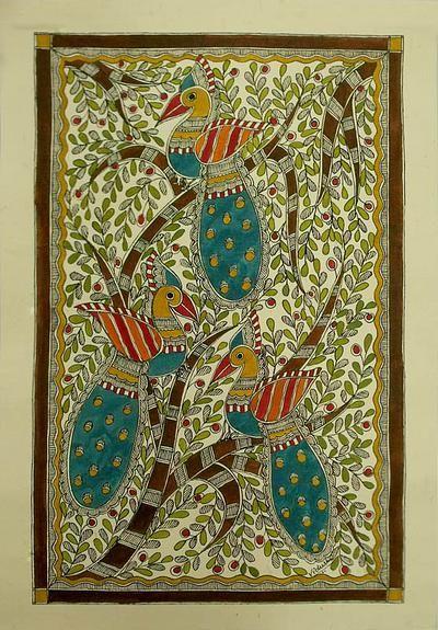 Indian Art Painting Madhubani Folk - Peacock Trio | NOVICA