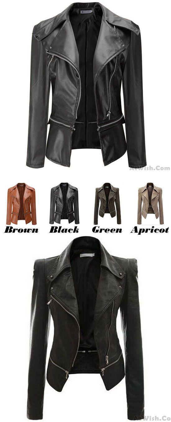 New Autumn Coat PU Cloth Motorcycle Leather Jacket PU Leather Zipper Jacket for big sale! #pu #cloth #leather #jacket #PU #coat