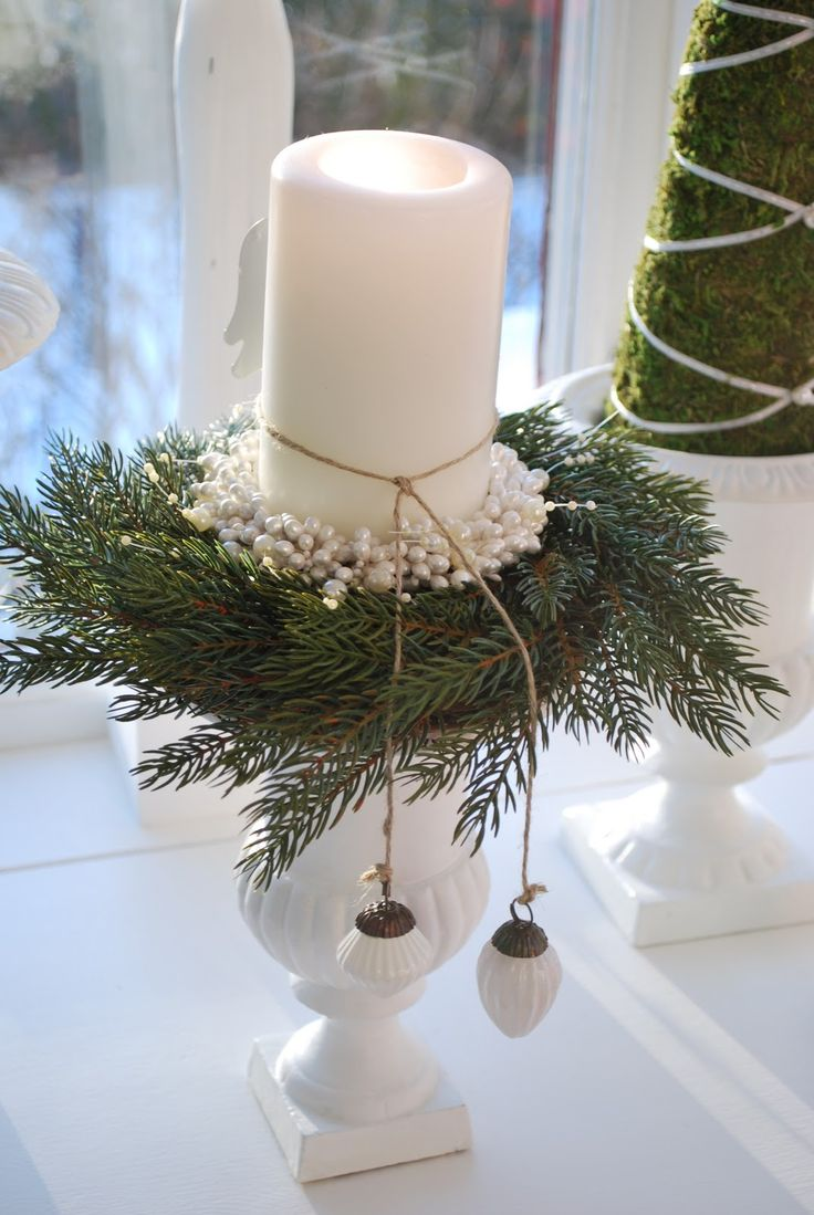 A candle all dressed up for Christmas. Just take away the greenery and added…