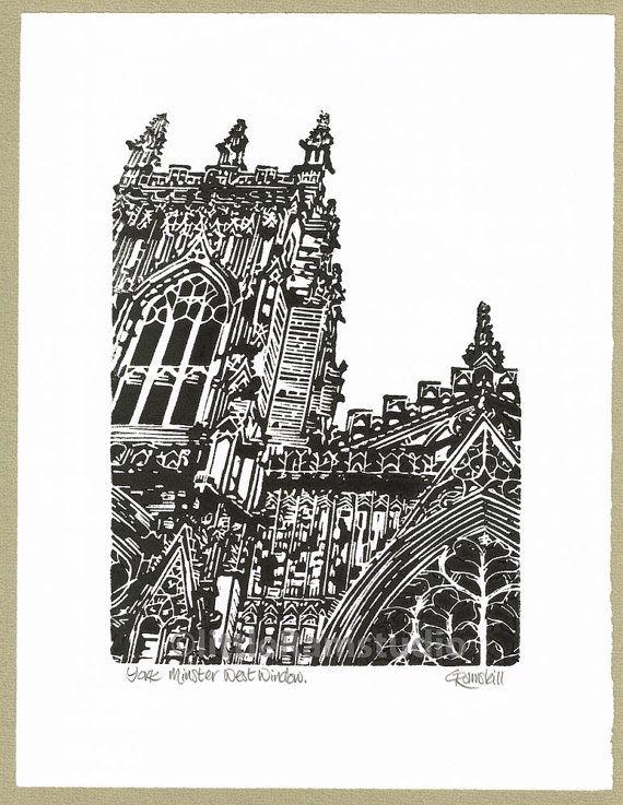 York Minster West Window  Linocut Original hand by littleRamstudio