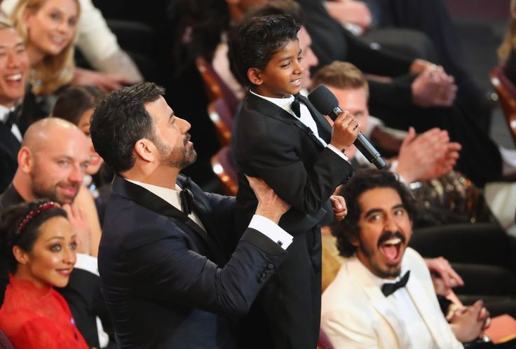 89th Academy Awards - Oscars Awards Show - Hollywood, California, U.S. - 26/02/17 - Dev Patel watches Jimmy Kimmel lift Sunny Pawar. REUTERS/Lucy Nicholson via @AOL_Lifestyle Read more: https://www.aol.com/article/entertainment/2017/02/27/scarlett-johansson-shuts-down-ryan-seacrest-during-2017-oscars-i/21722755/?a_dgi=aolshare_pinterest#fullscreen