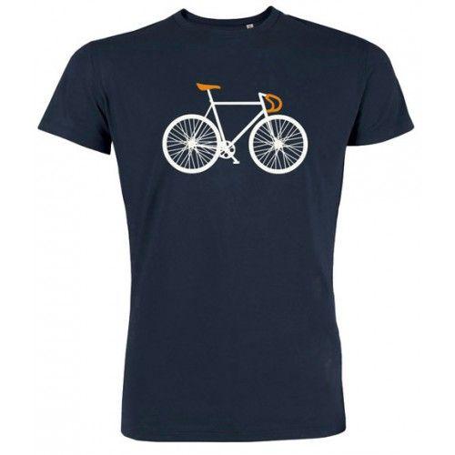 """T-shirt """"Bike"""" navy. Label van dit shirt is Greenbomb, shirt is 100% biologisch katoen."""