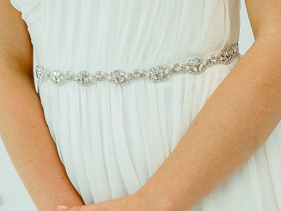 Crystal Bridal Sash / Rhinestone Sash Belt / by DavieandChiyo, $140.00