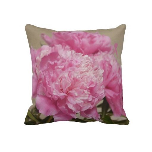 Pink Peony with Pink Ribbon Pillow #pink #pinkribbon #breasrcancer