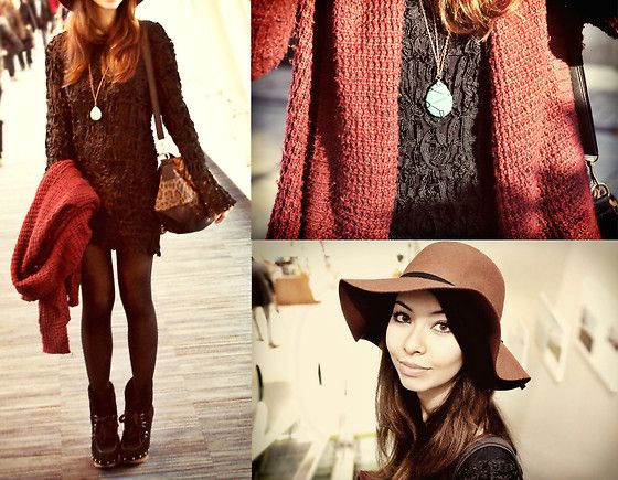 Get this look: http://lb.nu/look/4329233  More looks by Rio FashionBento: http://lb.nu/fashionbento  Items in this look:  Forever 21 Embroidered Dress, Guess? Ankle Boots, Topshop Leopard Print Bag, Forever 21 Turquoise Necklace, H&M Brown Floppy Hat, Urban Outfitters Knit Cardigan