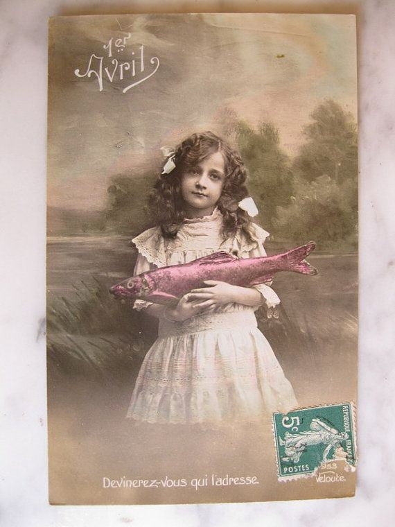 Antique French Photo Postcard. 1er Avril. Sweet by grandma62