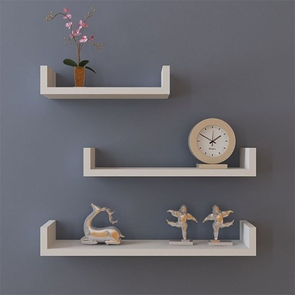 Set Of 3 U Shape Floating Wall Shelves Storage Display Shelf