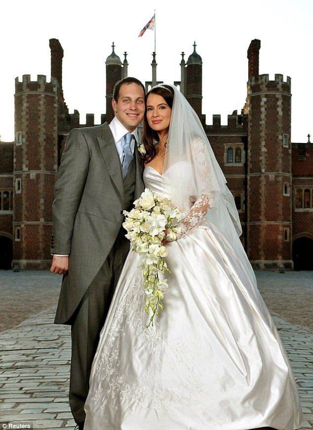 Lavish: Lord Frederick Windsor and Sophie Winkleman married in the Chapel Royal at Hampton Court in a £ 40,000 ceremony.