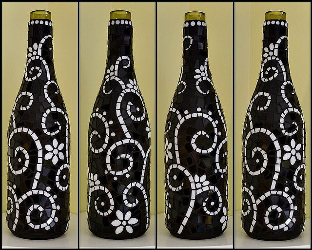 Black and white mosaic wine bottle by Meaco's Art Garden, via Flickr