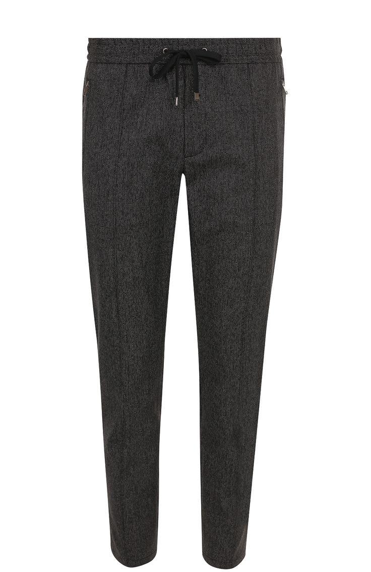 Мужские черные брюки из смеси шерсти и хлопка с поясом на резинке Dolce & Gabbana, сезон FW 17/18, арт. 0101/GY87ET/FMCAV купить в ЦУМ | Фото №1