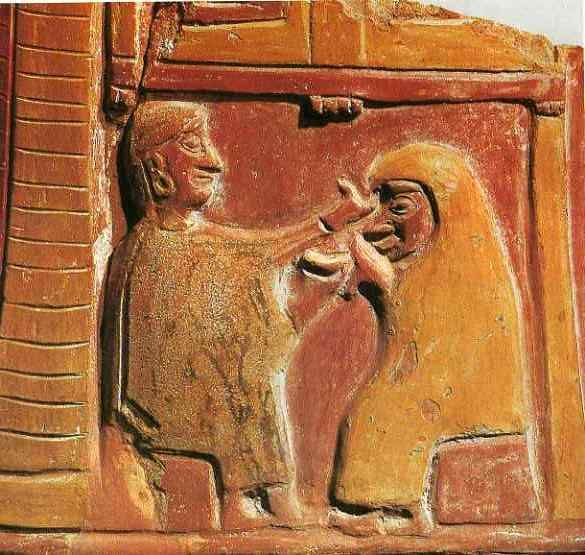Scene of the sacred marriage, the Hittites.Opens the veil and the groom offers her a drink. Detail in the vase. (Maybe king and queen, maybe gods) Anadolu Medeniyetleri Museum, Ankara city, Türkiye.