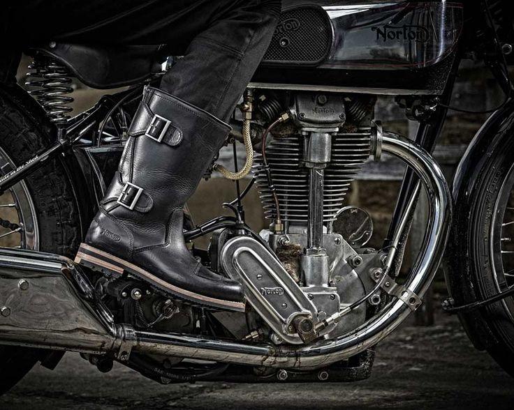 Norton Zip, schwarze Herren Bikerstiefel in Premium-Leder, Norton Biker Boots