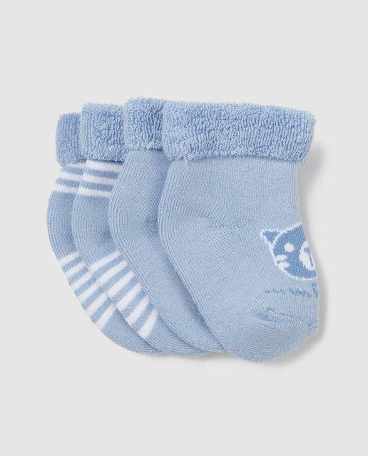 Pack de 2 calcetines de rizo estampados con dibujo y rayas, en color azul claro.