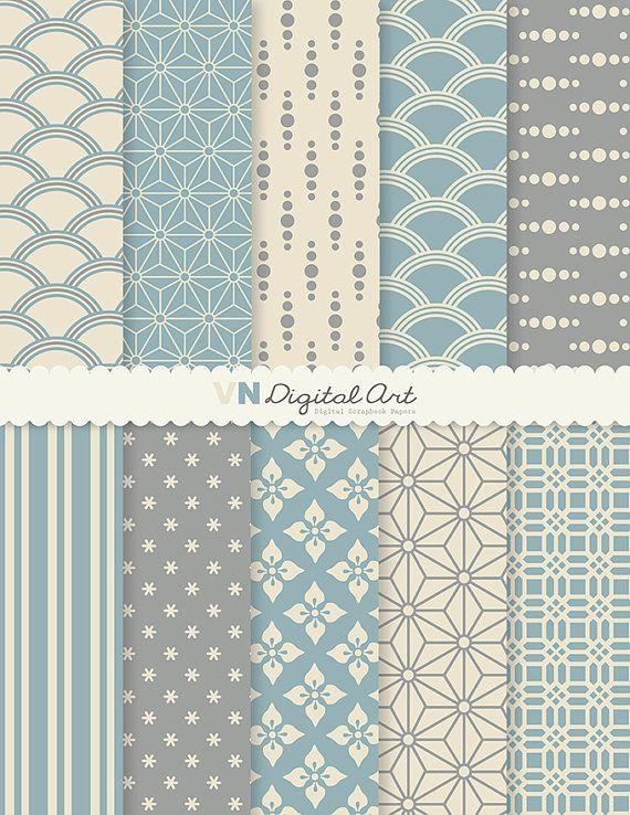"Digital Paper, Japanese Style Digital Scrapbook Paper Pack (8.5x11""-300 dpi) -- Instant Download -- 10 Digital papers -- 103"