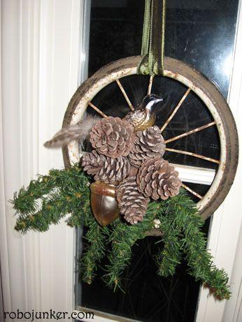 Bike Tire w/ Pine Cones  Just tooo cute!   DIY Craft Projects Christmas - Trash to Treasure