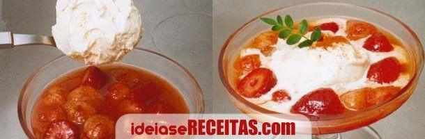 Receita de Morangos flambados em vodka com gelado