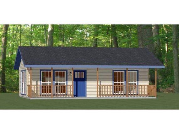 32x16 House 1 Bedroom 1 Bath 512 Sq Ft Pdf Floor Plan Instant Download Model 1 Floor Plans House House Plans
