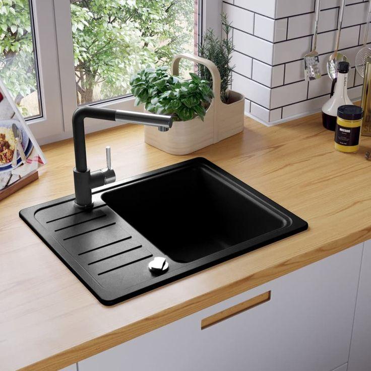 vidaXL Granite Kitchen Sink Single Basin Black Stain ... on Black Granite Stain  id=30157