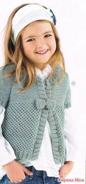 Вот такой кардиганчик заказали для девочки 6-7 лет. Описание можно найти в журнале Phildar. Выбор остановила на пряже Gazzal Baby Cotton, цвет синий(по выбору заказчицы), спицыN3 и N4.
