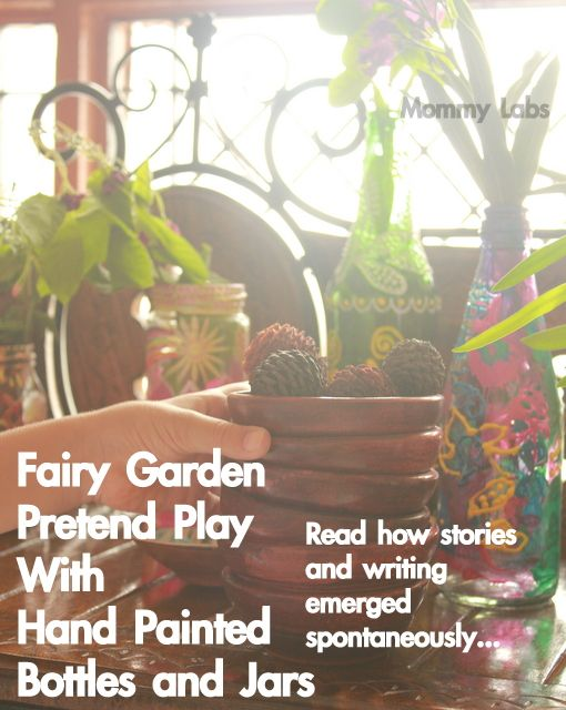 Painted Bottles Become Fairy Garden Play.