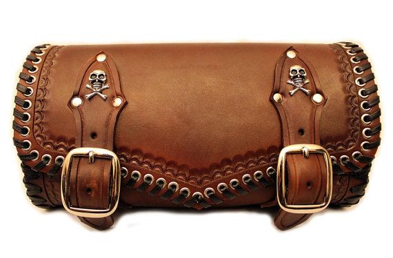 Custom hand tooled leather motorcycle tool bag. by RobertiCustoms, $165.00