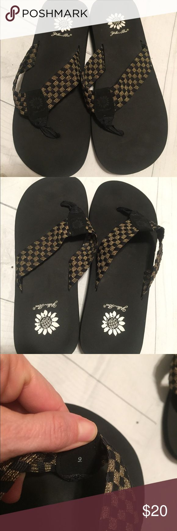 Yellow box flip flops 9 Yellow box flip flops 9. In good used condition. Black gold. Yellow Box Shoes Sandals