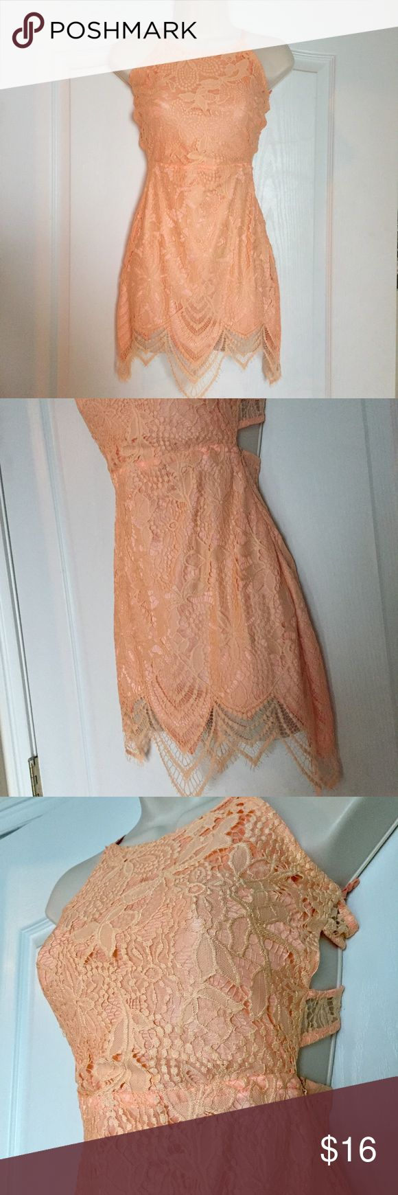 Peach lace dress Peach lace dress NWOT Lightweight material with a zipper side and tie back Size S but fits like an XS Dresses
