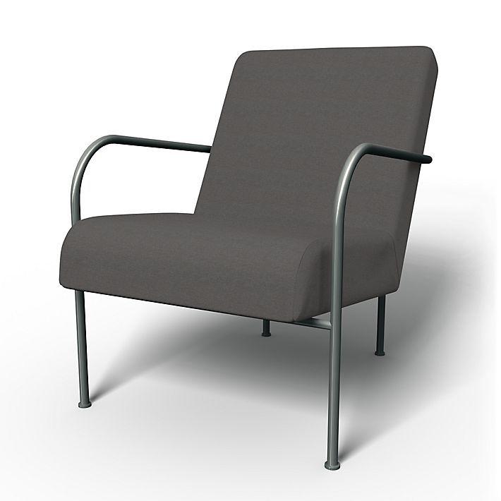 Ikea PS , Fåtöljöverdrag, Fåtölj, Regular Fit med tyget Chenille Graphite Grey