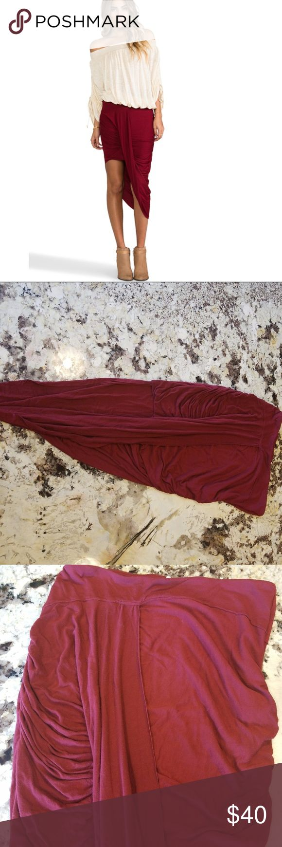 """Free People Love Twist and Shout Sarong Wrap Skirt Free People Love Twist and Shout Sarong Wrap Draped Boho Skirt Red Size Medium  No rips, stains, smoke free home. Hip to hip: 15"""" Length of skirt: 19"""" Free People Skirts Mini"""
