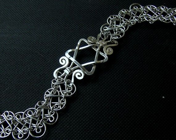 Sterling silver Star of David handcrafted filigree double mesh bracelet