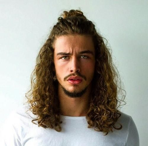 half up pony for men with curly hair