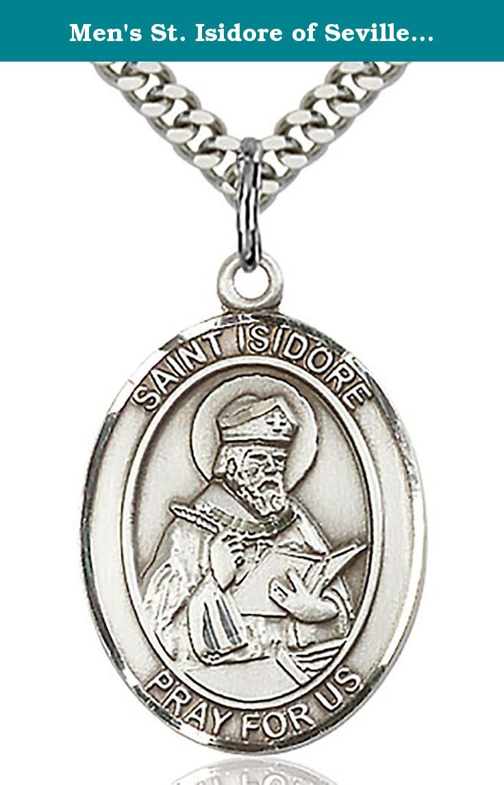 Men's St. Isidore of Seville Sterling Silver Medal + 24 Inch Stainless Steel Chain with Clasp. This St. Isidore of Seville Pendant is made of sterling silver and is approximately the size of a quarter. Select above which chain style you want from the style options above: * a 24 inch stainless steel chain with clasp * a 24 inch endless stainless steel chain * a 24 inch rhodium plated chain with clasp * a 24 inch genuine .925 sterling silver chain with clasp * no chain at all, so just the...