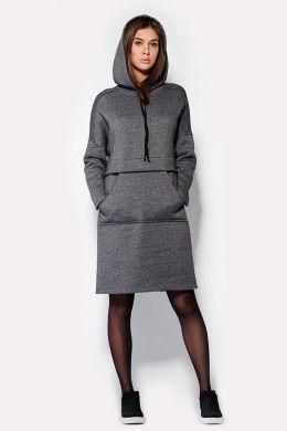 Утепленное спортивное платье с капюшоном (Ca_40634)