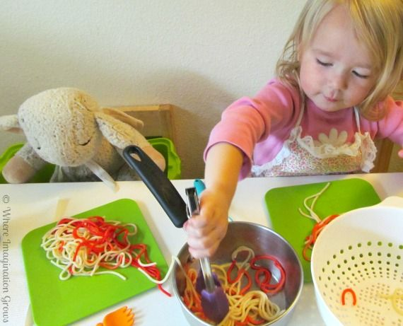 Spaghetti Shop Pretend Play for Kids!...I thought she was using yarn which would also be fun. But she is using real cooked noodles...