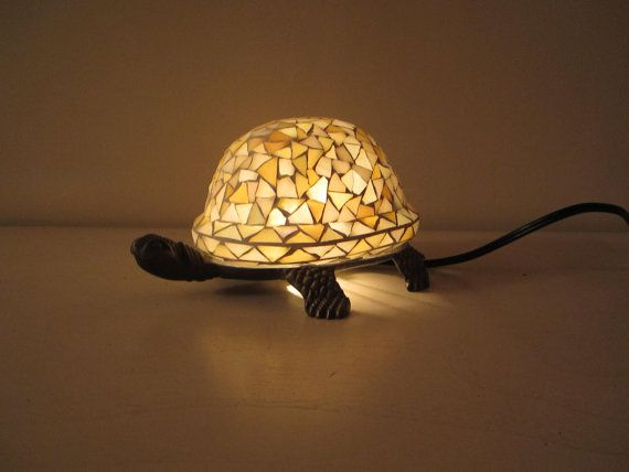 Stained Glass Turtle Table Lamp Night Light Tiffany