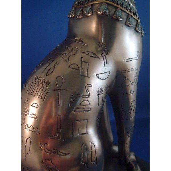 Египетская кошка богиня Баст или Бастет с египетскими символами и бронзовая отделка