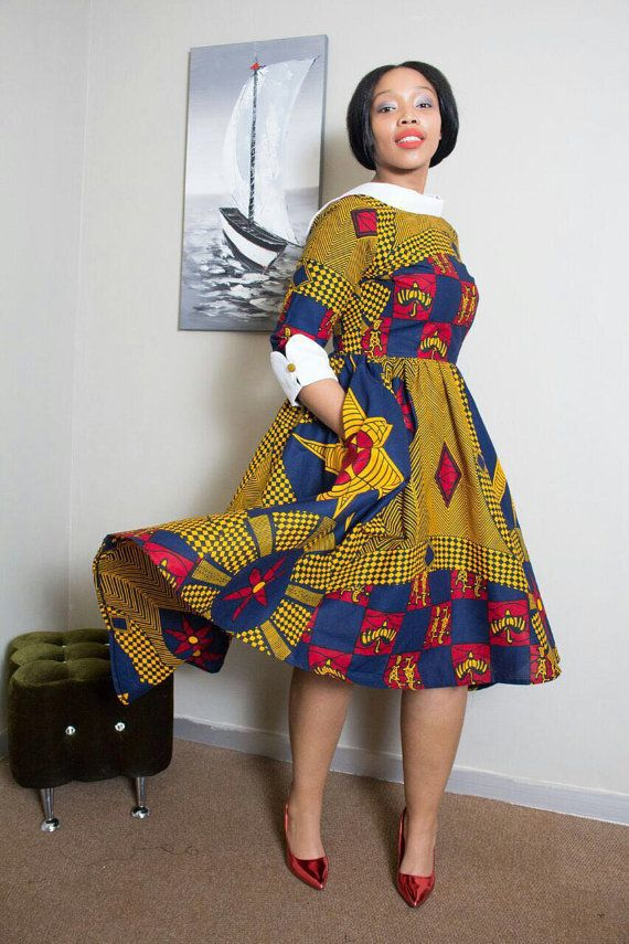 Robe africaine African clothing impression par EssieAfricanPrint                                                                                                                                                                                 Plus