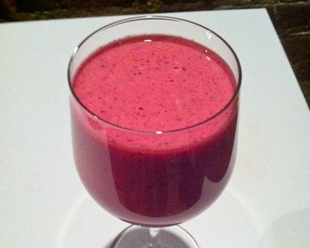 Beet Smoothie with Raspberries Recipe  1/2 cup diced beets 1 cup raspberries 8 ounces coconut water, chilled 6 ounces Greek yogurt 3 tablespoons honey 1 tablespoon lemon juice