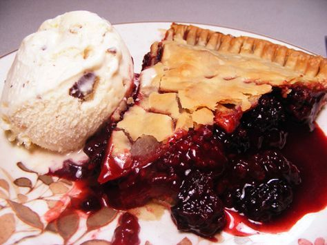 My mom has been making this pie since I can remember, and now it is a staple in my kitchen.  It uses quick cooking tapioca, and has a very fresh taste since you do not cook the blackberry mixture before baking.  You can use fresh or frozen blackberries.  I am always asked for the recipe when I take it to a pot-luck or gathering of friends.  I love using Martha Stewarts Foolproof pie crust  (Recipe #59026) for double-crust pies like this.