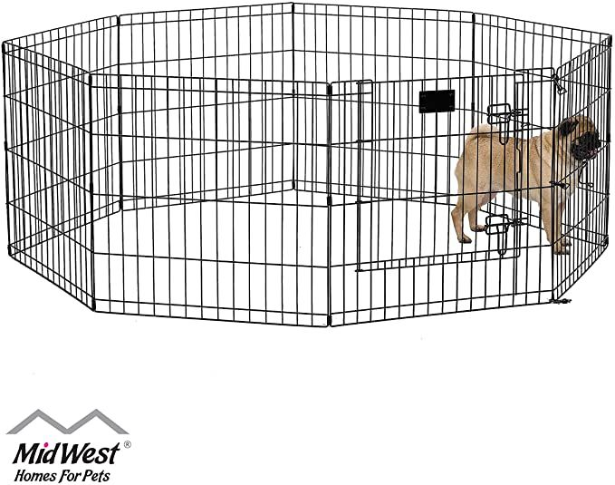Amazon Com Midwest 550 24dr Foldable Metal Exercise Pen Pet Playpen Black W Door 24 W X 24 H Inches Dog Exercise Pen P In 2020 Pet Playpens Dog Pen Dog Door