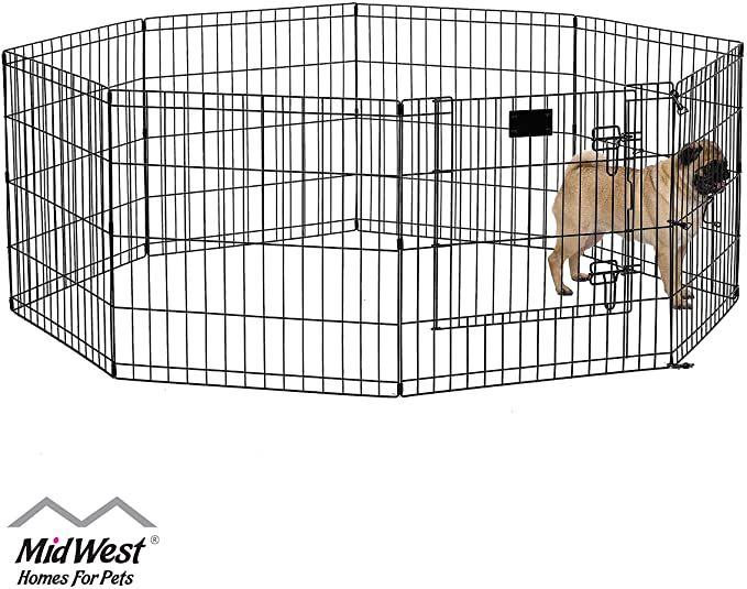 Amazon Com Midwest 550 24dr Foldable Metal Exercise Pen Pet Playpen Black W Door 24 W X 24 H Inches Dog Exercise Pen Pet Playpen Playpen Rv Dog Door