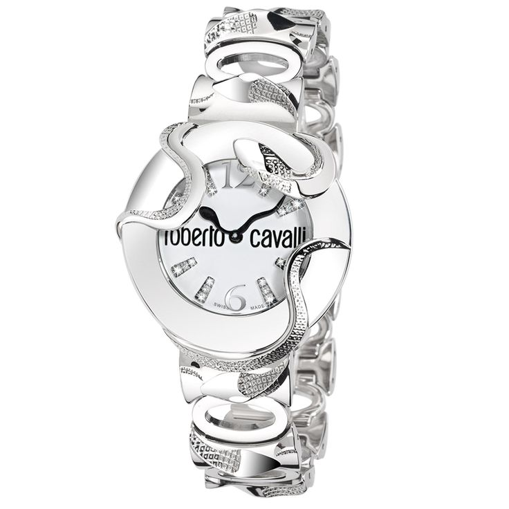 Roberto Cavalli  Snake 2H Stainless Steel White Dial/Bracelet  For Ladies  ~ 7253165545