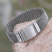 Men's sterling silver wristband bracelet, 'Armor Warrior' - Men's Chain Mail Wristband Bracelet in Sterling Silver