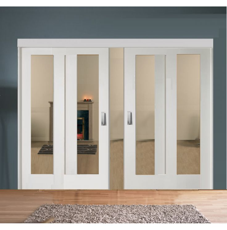 Sliding French Doors with White Pattern 10 Clear Glazed Doors