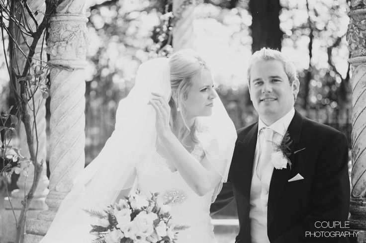 The bride & groom in the gazebo. Weddings at Killashee House Hotel photographed by Couple Photography.