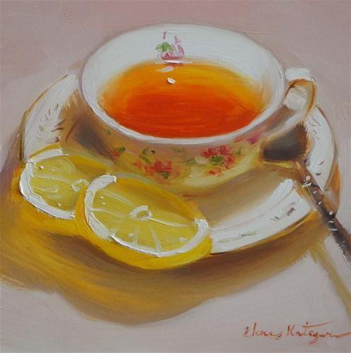 "Daily+Paintworks+-+""Delicate+Lemon""+-+Original+Fine+Art+for+Sale+-+©+Elena+Katsyura"
