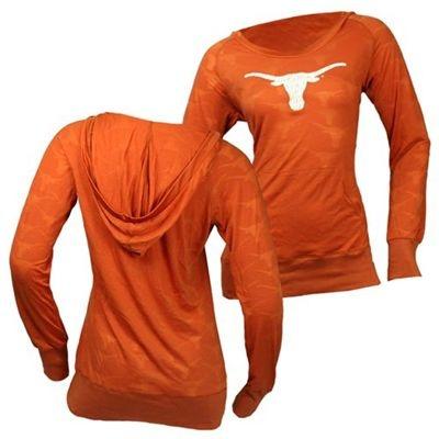 Texas Longhorns Women's Burnout II Hooded Long Sleeve T-Shirt (Texas Orange)