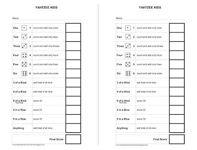 Free Printable - Yahtzee Score Card for Kids - Adaptive game card for easier writing and number recognition.