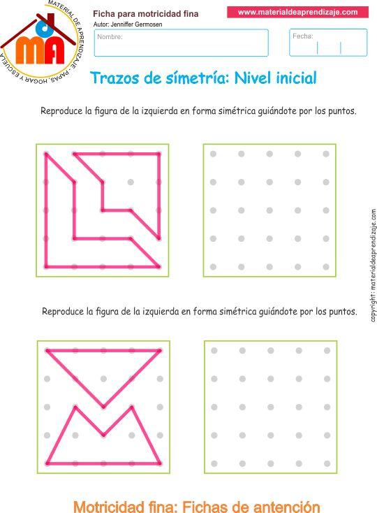 Ejercicio 10: Actividades escolares de trazos de simetría. Copia los trazos lineales y las formas de manera simétrica guiándote por los puntos.