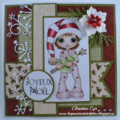 cute as a button stamps/christmas card